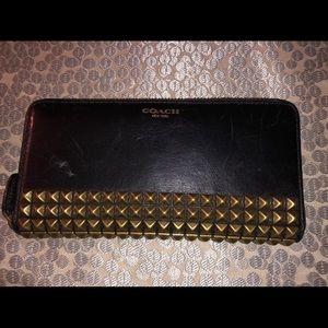 Black Coach Studded Wallet